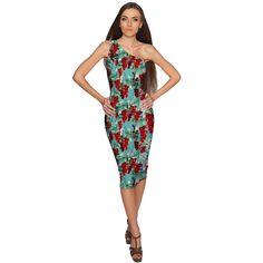 Toscana Layla One-Shoulder Green Midi Eco Dress - Women