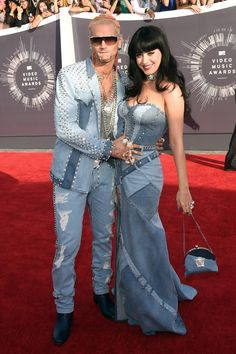 The 11 Must-See Looks At The VMAs #refinery29  http://www.refinery29.com/2014/08/73263/best-dressed-mtv-video-music-awards-vmas-2014#slide2  Katy Perry (and Riff Raff) Were Perry and Riff Raff deliberately throwing back to Britney Spears and Justin Timberlake in these custom denim Versace outfits? Definitely. Unfortunately, he looks more like K. Fed than Justin here.