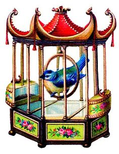 Vintage Clip Art - Pretty Blue Bird in Asian Style Cage - The Graphics Fairy