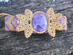 Macrame Bracelet with Natural Amethyst stone by RCnKMacrame, $32.00