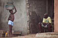 Girl and Grandfather. Portrait, Cotonou, Bénin, Africa.