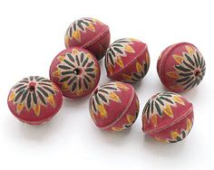 Hand Painted Fuchsia Chrysanthemum Leather Round Bead 26-28mm