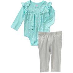 Garanimals Newborn Baby Girl Long Sleeve Foil Print Bodysuit & Metallic Jeggings Outfit Set - Walmart.com