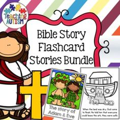 Bible Flashcard Story BundleThis bundle includes the Bible Flashcard Stories available on my store put together at a great discount price!This bundle is suitable for both American and British Classrooms i.e color/colour etc. The stories also come in black and white and color/colour option.The bundle includes: Adam and Eve Daniel in the Lions Den David and Goliath Jonah and the Whale Joseph and his colorful/colourful Coat Noah's ArkEach mini page, is half an actual page size, meaning you cut…