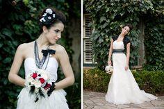 Kenwood Inn Sonoma wedding photos. Red, black and white wedding ideas