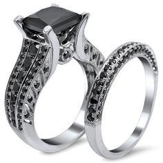 18k White Gold 3.8ct TDW Princess Cut Black Diamond Ring Set