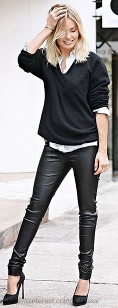 Fall / winter - street & chic style - leather pants + white shirt + black sweater + heels