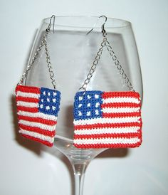 crochet earrings american flag by JewelrySpace on Etsy, $13.00