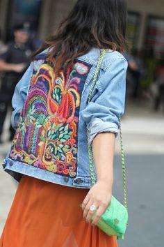 Stitched picture art on Denim Jacket