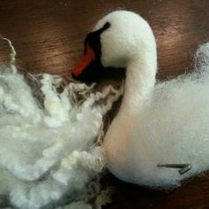 This soft Wensleydale wool will make such beautiful wings for this swan!