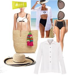 Sustainable swim look #2   Featuring Vitamin A swimsuits, Mar y Sol, Juice Beauty, and vintage sunglasses.