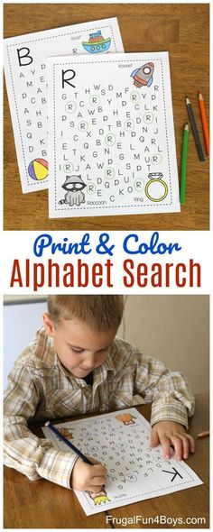 Print and color alphabet search! A fun way for preschool and kindergarten kids to work on identifying their ABCs! #abcfun #literacy