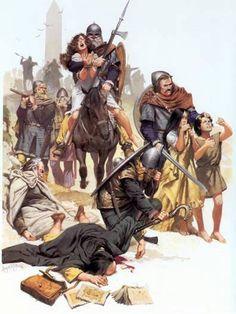 Raid de Vikings. Illustration d'Angus Mc Bride.