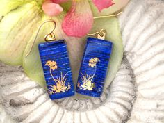 Blue Earrings 22KT Gold Flower  Dichroic Earrings  by ccvalenzo, $20.00