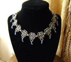 Chainmail Necklace Nickel Silver Blue Glass Steampunk Game of Thrones SCA | eBay