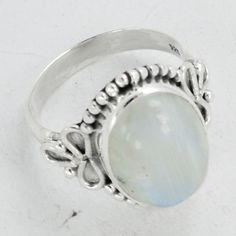 Moonstone ring Stone ringSilver ring Rainbow by DevmuktiJewels