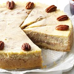 Roasted Banana & Pecan Cheesecake Recipe —use gf cookies for crust. try not adding pecans to banana mixture. just put toasted and sugared ones on top. Try mixing banana in completely. Pecan Cheesecake, Cheesecake Recipes, Dessert Recipes, Dessert Ideas, Pudding Desserts, Ripe Banana Recipe, Banana Recipes, Chewy Chocolate Chip Cookies, Chocolate Pies