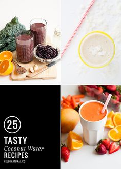 25 Tasty Coconut Water Recipes - mmm the watermelon smoothie, breakfast smoothie, pancake sauce, and others sound good! Oatmeal Smoothies, Healthy Smoothies, Healthy Drinks, Healthy Meals, Healthy Food, Healthy Bodies, Coconut Water Recipes, Coconut Water Benefits, Coconut Water Smoothie