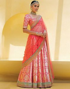 This gorgeous baby pink pure silk lehenga is the perfect bride/grooms sister wedding outfit Indian Bridal Lehenga, Indian Bridal Wear, Indian Wedding Outfits, Indian Outfits, Pakistani Bridal, Indian Clothes, Bridal Dupatta, Lehenga Wedding, Brocade Lehenga