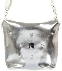 8e65bbd5e5 Strieborno-biela crossbody kabelka s malými perličkami C18SM011SLV - GROSSO