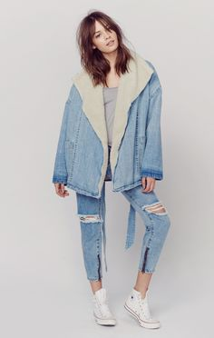 """This """"COBAIN COAT""""so grungy but luxe with its real shearling lining! McGuire Denim $448"""