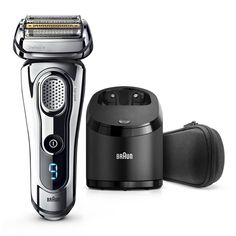 Find out more about Braun Series 9 chrome Wet&Dry Electric Shaver with Clean&Charge System in premium chrome at Brand.com