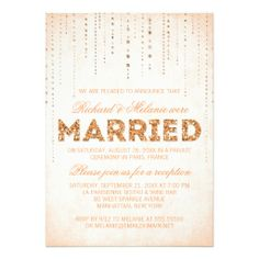 Glitter Look Wedding Reception Only Invitation WEDDING Pinterest
