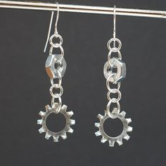 Found Object Jewelry- Salvaged Hardware Upcycled Industrial Earrings. $18.00, via Etsy.