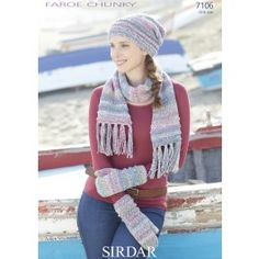 Slouchy Hat, Scarf and Mittens in Sirdar Faroe Chunky (7106) £2.99