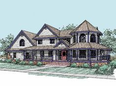 Queen Anne House Plan with 3419 Square Feet and 4 Bedrooms(s) from Dream Home Source | House Plan Code DHSW17801