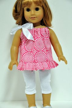 American Girl Doll Clothes Pink with White Print by CircleCSewing