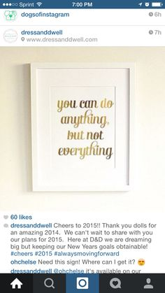 Quote: You can do anything but not everything.