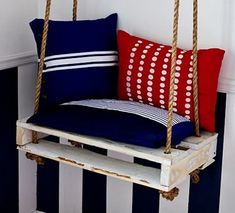 A very creative pallet swing made from 1/3 of a pallet and painted white.