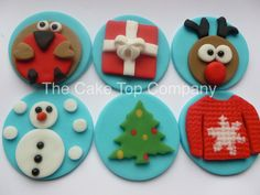 Christmas Fondant Cupcake Toppers handmade by The Cake Top Company by TheCakeTopCompany on Etsy https://www.etsy.com/listing/256375724/christmas-fondant-cupcake-toppers