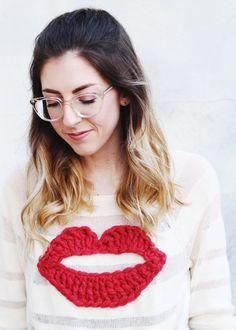 Crochet Lips Sweater