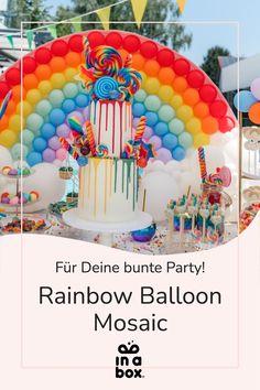 Das wunderbare, magische bunte Regenbogen Ballonmosaik ist nicht nur easy peasy zu Hause selbst gemacht, sondern auch noch der Hingucker auf jeder Party! Ob magische Einhornparty, bunter Kindergeburtstag oder fabelhafte Regenbogenfete, das DIY Ballon Mosaik passt einfach immer! Foto by Felicitas von Imhoff. Party Box, Diy Party, Diy Ballon, Rainbow Balloons, Party Decoration, Birthday Cake, Easy, Diy, Crafting