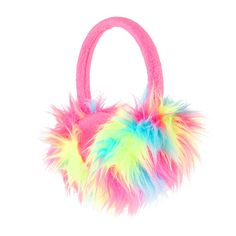 Neon Rainbow Furry Earmuffs | Claire's