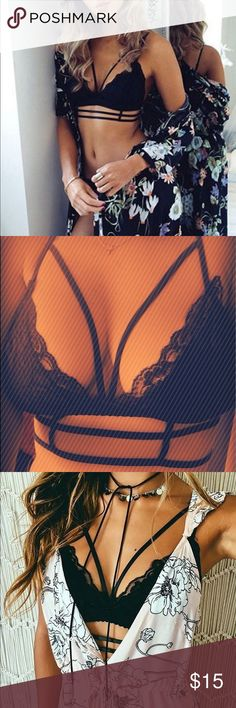 M & L Black Caged Lace Bralette This sexy bralette is the perfect staple to every woman's closet! Lace is thick & durable. Adjustable straps have a subtle stretch but are sewn very delicately. Unlined/no padding. Layer this w/ oversized shirts to give your outfit a sexy appeal. *Modeling a L in last photo (I'm a 34DD)*   BUY 3 OR MORE ITEMS FOR 15% OFF! Milky Way Dreams  Intimates & Sleepwear Bras