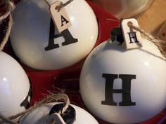 Ballard Designs knock-off initial ornaments.