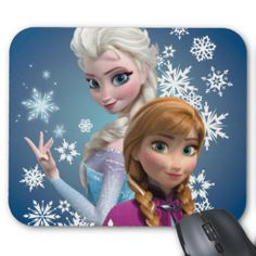 Anna and Elsa with Snowflakes Mouse Pad