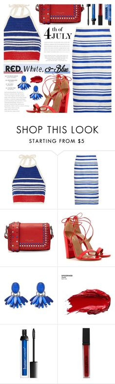 """Red, White, and Blue Fashion"" by noviii ❤ liked on Polyvore featuring Vika Gazinskaya, Dolce&Gabbana, Marc Jacobs, Aquazzura, Urban Decay, Smashbox, redwhiteandblue and july4th"