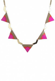 Neon Pink Triangle Necklace