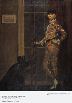 Nancy as the Harlequin with a Windsor Chair by Mabel Pryde Clown Cirque, Aberdeen Art Gallery, Pierrot Clown, Gallery Of Modern Art, National Portrait Gallery, Carnival Costumes, Art Uk, Printmaking, Oil On Canvas