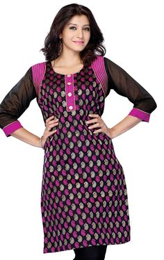 Picture of Beautiful Black and Fuchsia Pink Color Indian Tunics