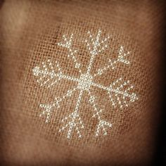 needlepoint, cross stich on burlap | cross stitch snowflake on burlap christmas tree skirt #burlap # ...