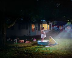 Gregory Crewdson has cited the films Vertigo, The Night of the Hunter, Close Encounters of the Third Kind, Blue Velvet, and Safe as having influenced his style, as well as the painter Edward Hopper and photographer Diane Arbus.