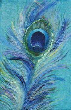 Peacock feather III original painting on by SeasideStudiosUK, £25.00