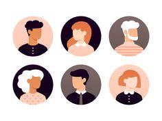 Here's a set of 21 user avatars. Elegant and clean avatar for any kind of project. Simple Illustration, Illustration Design Graphique, Character Illustration, Digital Illustration, Character Sketches, Photoshop, Icon Design, Design Design, Affinity Designer