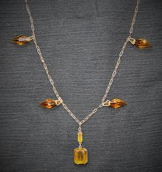 Antique Vintage 1920's Amber Crystal and Brass Necklace Beautiful!!!