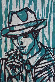 """""""What a Hat!"""", linoleum on paper, 20x30cm, 2011"""